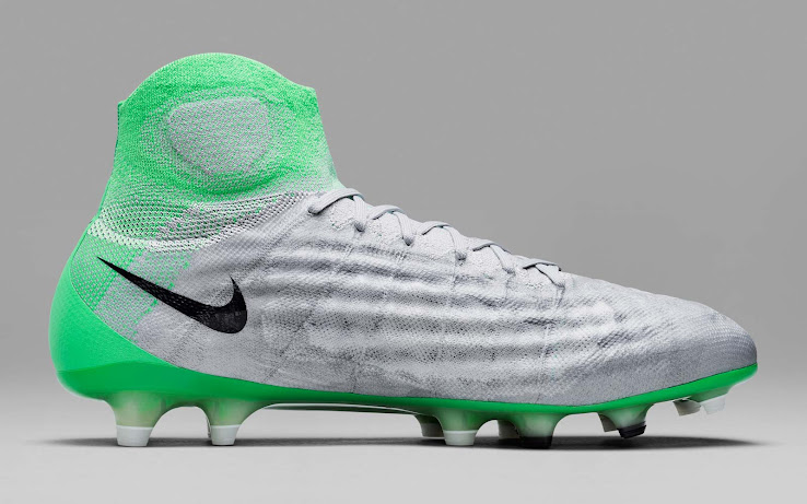 f470fa0a32e0 ... women s Nike Magista Obra II boots combine a Wolf Grey base with  eye-catching Electro Green accents. The Swooshes on the outside of each  shoe are black.