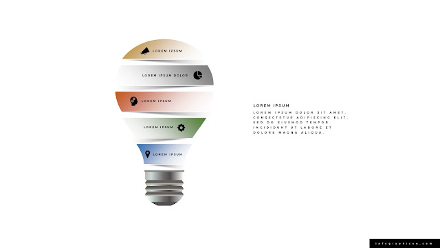 Origami Style Light Bulb Infographics PowerPoint Template Color Type C
