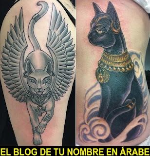 Tatuajes de Bastet el gato egipcio