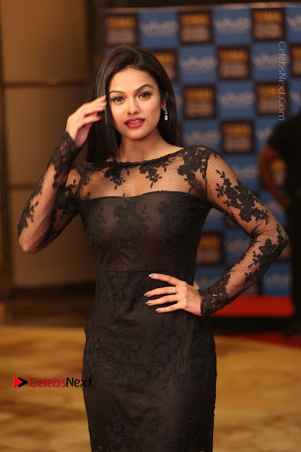Actress Soniya Stills in Beautiful Black Long Dress at SIIMA Short Film Awards 2017  0008