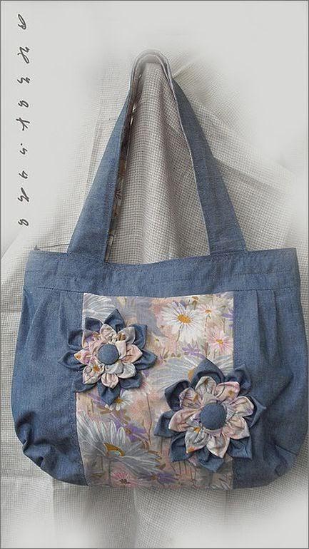 цветок из джинсовой ткани Flower of denim fabrics for bags.