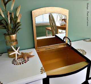 Vintage, Paint and more... a damaged vanity restored to a very glamorous vanity with paint and stencils