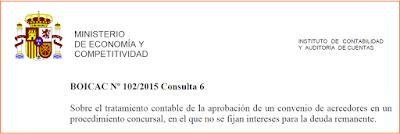 BOICAC 102 consulta 6 convenio acreedores sin intereses