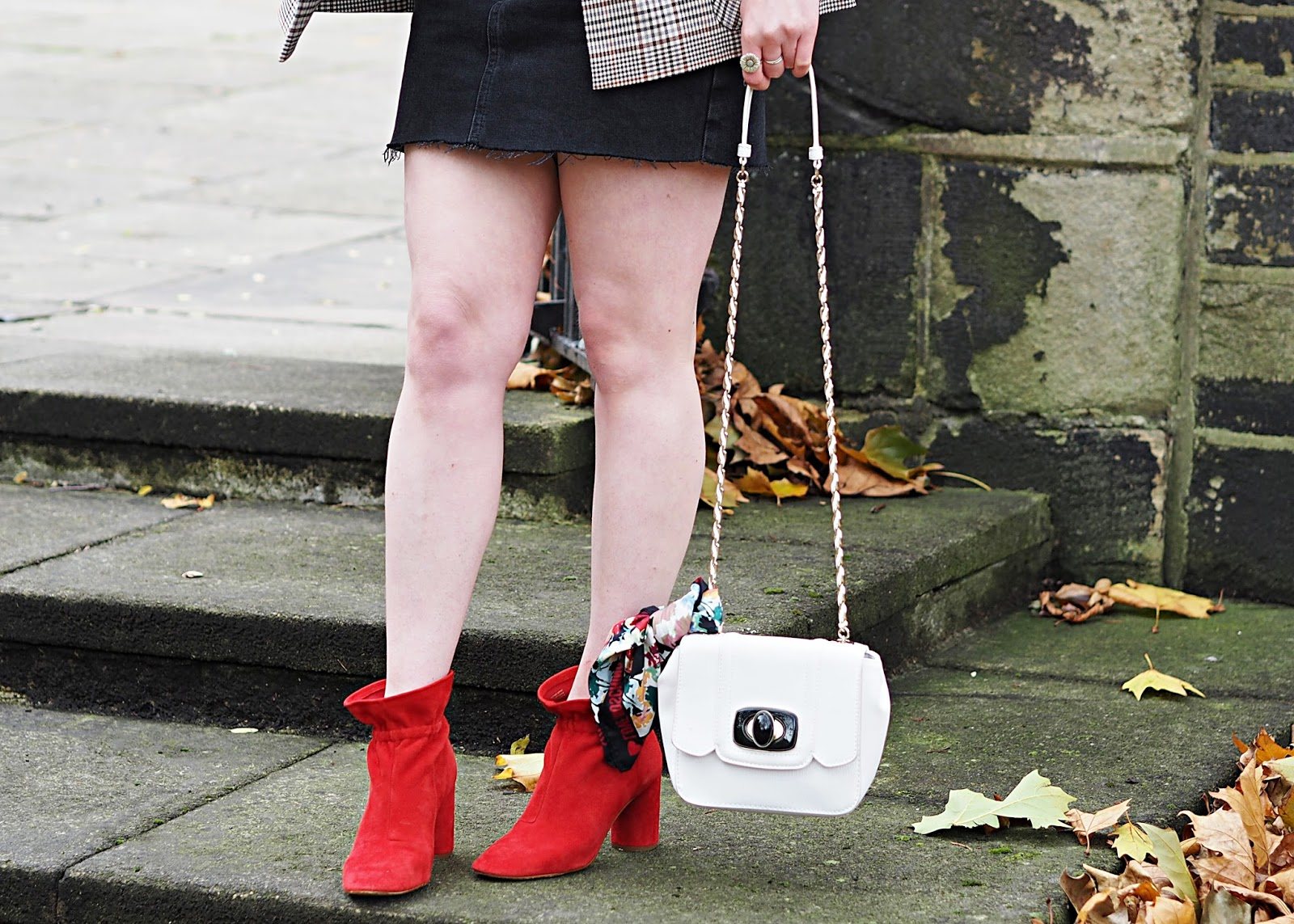 red boots & white bag