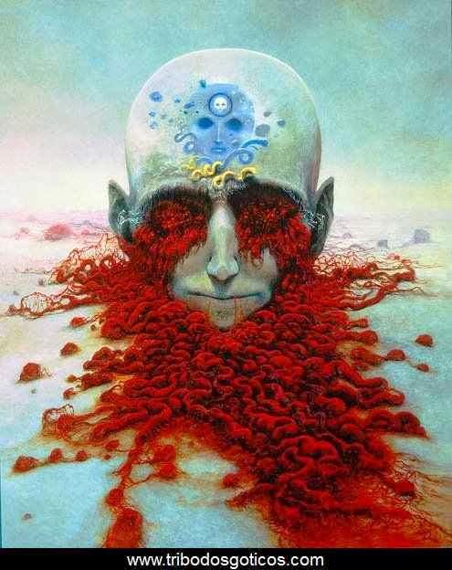 pintura bizzara,cabeça,sangue,olhos,art,quadro,Zdzislaw Beksinski