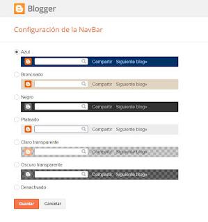 Desactivar barra de navegacion Blogger