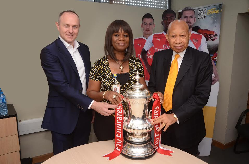 6 Arsenal Lands In Nigeria With FA Cup, Visits MTN Head Office In Lagos (Photos)