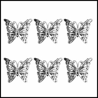 set of silver butterfly Christmas ornaments