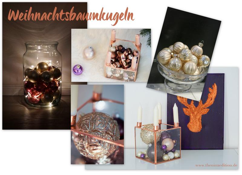 Weihnachtsdekorationsinspiration mit Weihnachtsbaumkugeln