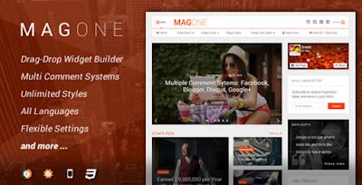 Download MagOne Megazine Blogger Responsive Template premium gratis