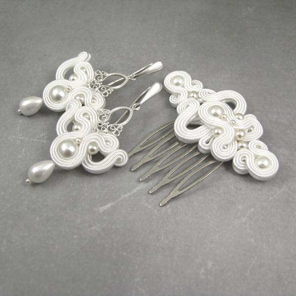 Kolczyki i grzebień ślubny sutasz z perłami