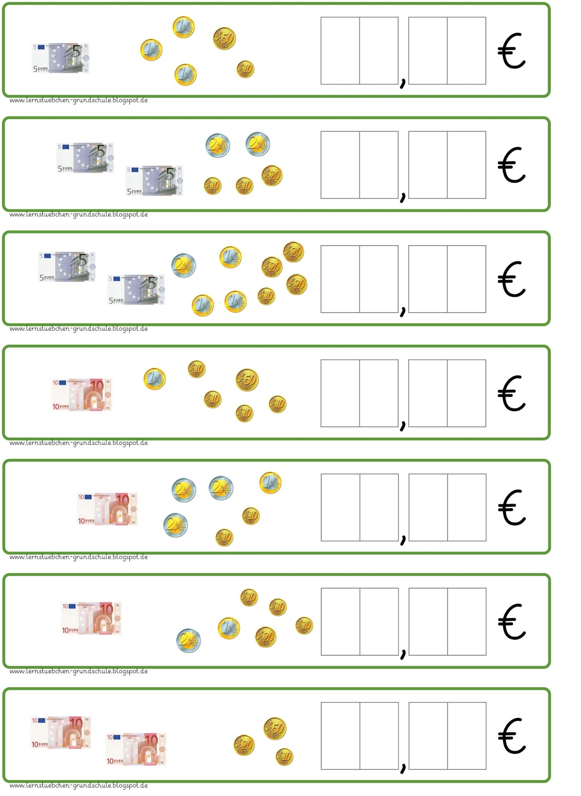 Lernstubchen Geldbetrage Und Kommaschreibweise