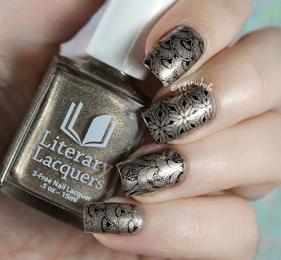 Literary Lacquers Sweet Lenore + Powder Perfect black stamping polish | Powder Perfect Art Deco Stamping Plate