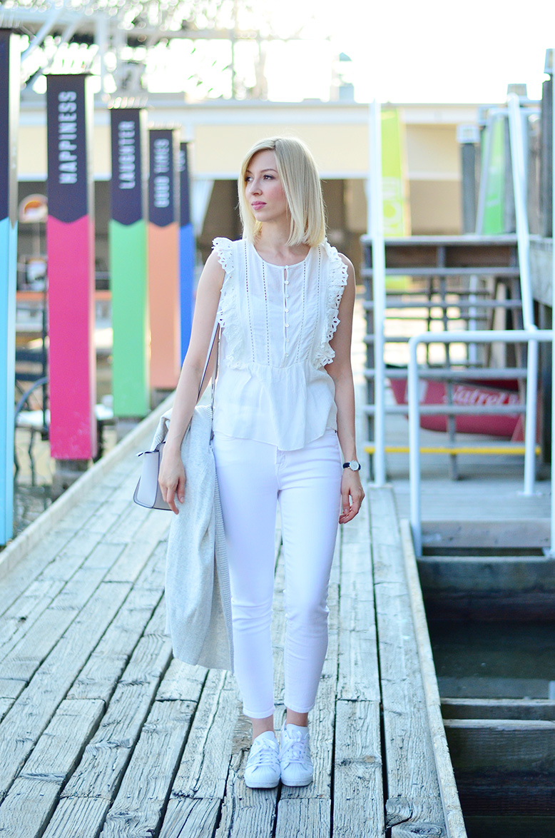 white frill top style