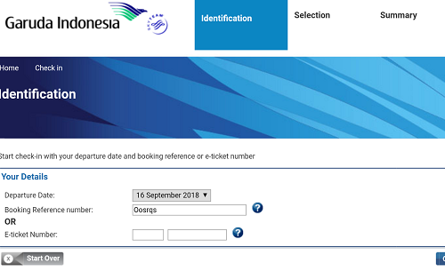 Langkah pertama Web Chcek In Garuda Indonesia