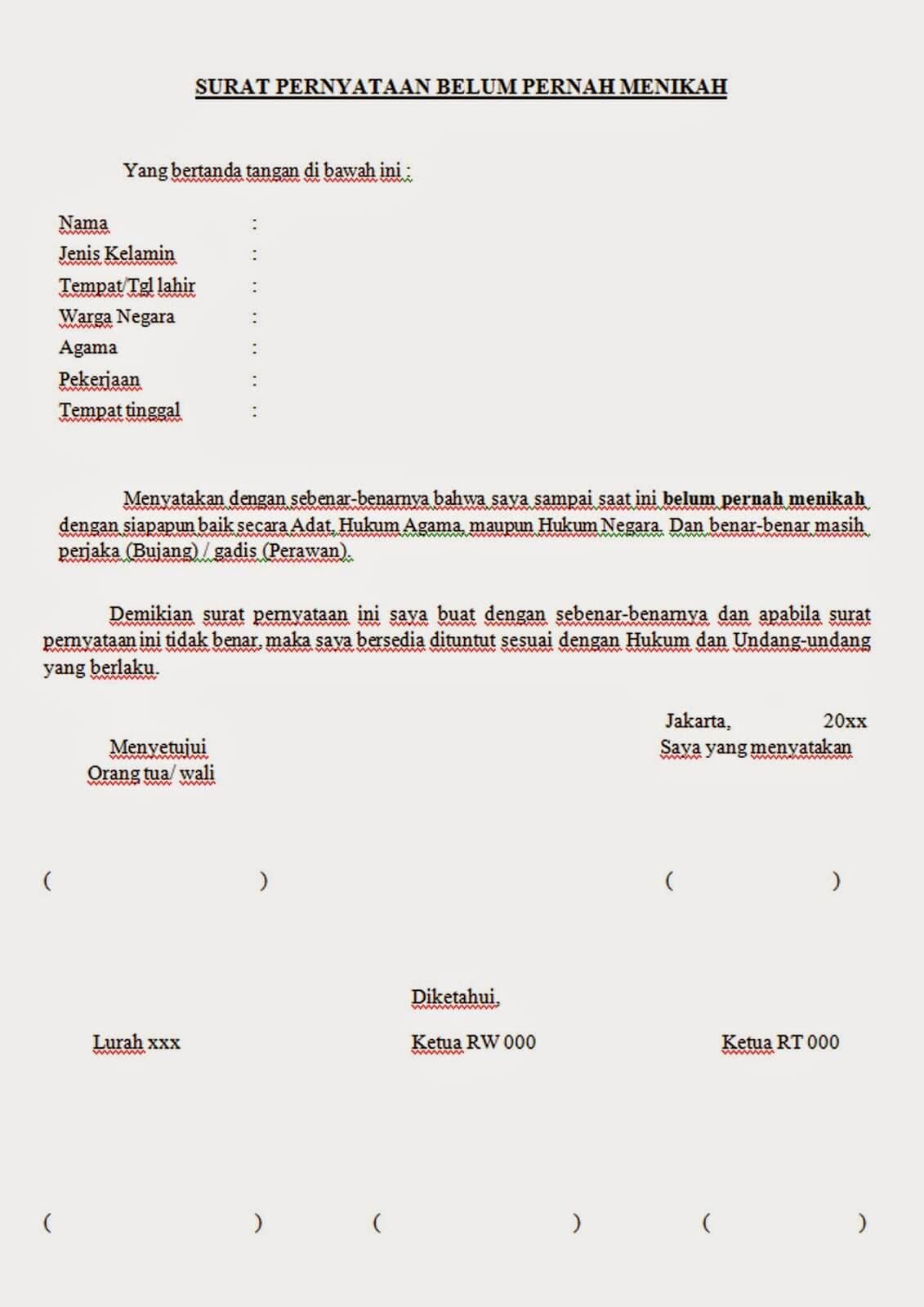 Contoh Surat Pernyataan Belum Pernah Menikah Untuk KUA