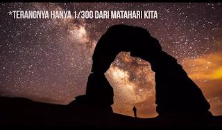Terangnya cahaya galaksi Bima Sakti atau Milky Way hanya 1/300 lebih kecil dari cahaya matahari
