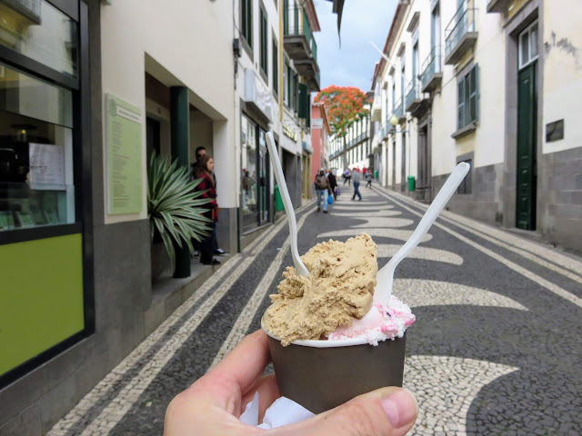 Eating gelato from Ottavia on the streets of Funchal
