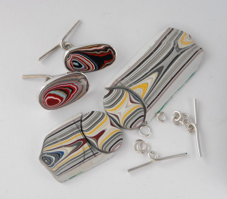 Fordite Cufflinks, finished and a work in progress, set in Silver by Sasha Garrett