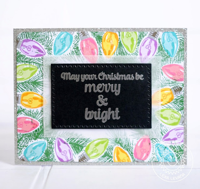 Sunny Studio Stamps: Merry Sentiments & Holiday Style Vintage Lights Border Christmas Card by Lexa Levana.
