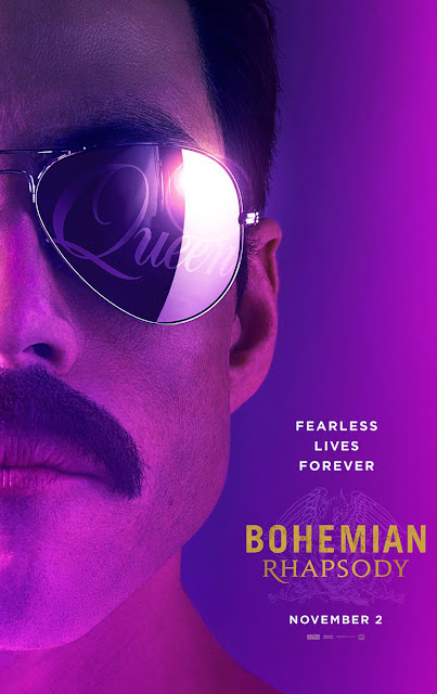 Movie poster for the queen biopic Bohemian Rhapsody with Rami Malek as Freddie Mercury wearing sunglasses