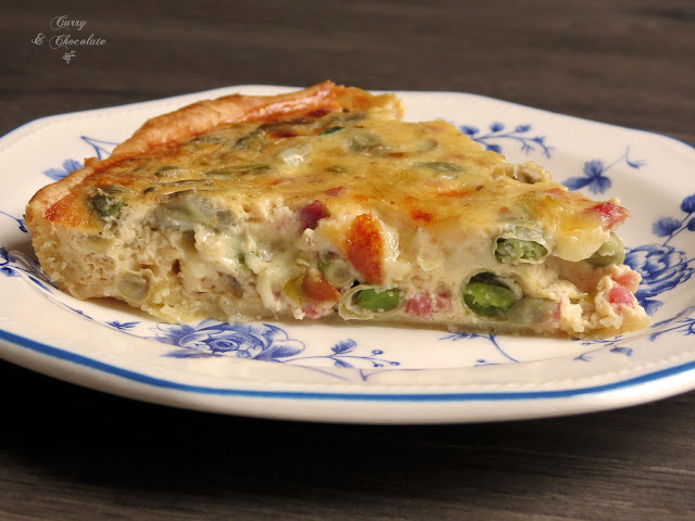 Pastel salado o quiche de habas y jamón – Lima beans and ham quiche