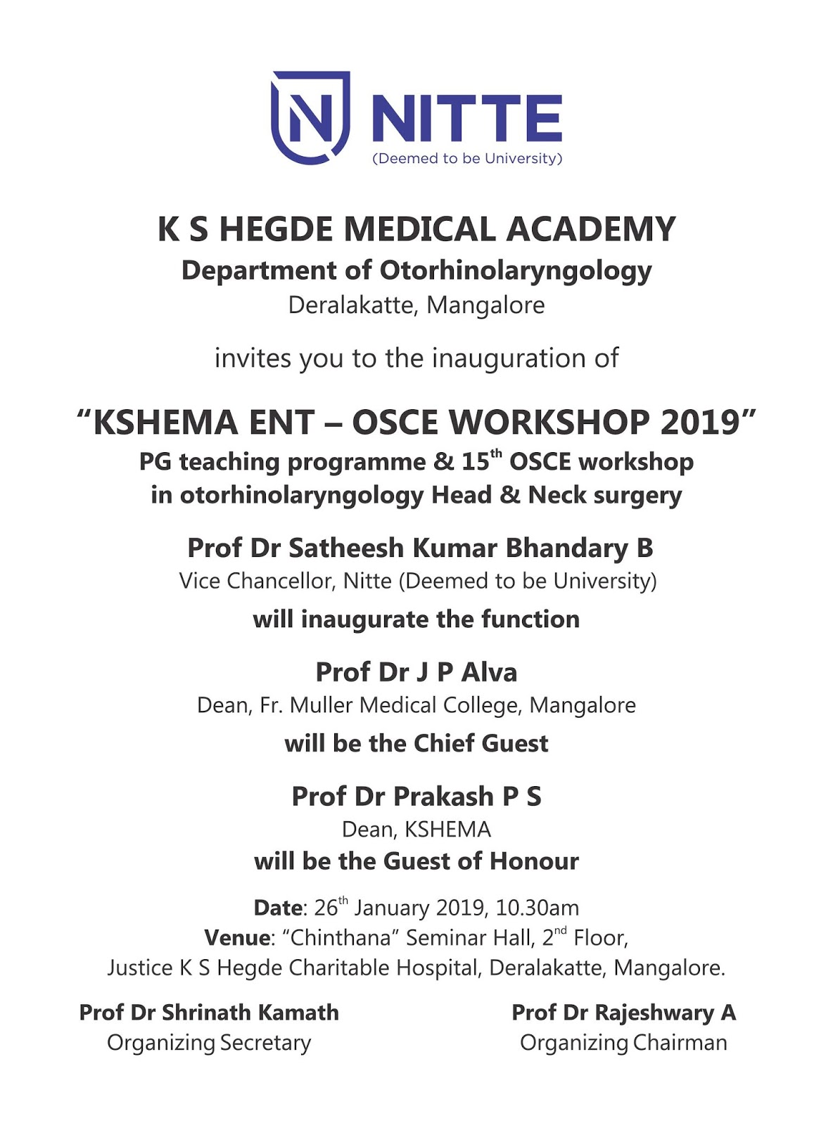 OSCE Workshop 2019 - KSHEMA | Nitte