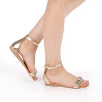 Sandale dama fara toc aurii ieftine