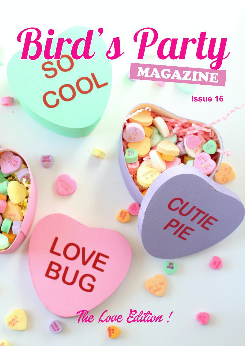 Bird's Party Magazine | The Love Issue 2017 is packed with party ideas, inspiration for weddings, Valentine's Day, recipes, DIY & free printables! | BirdsParty.com
