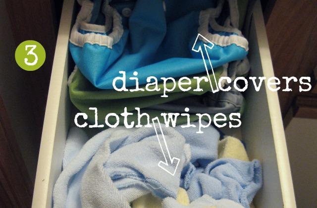 storing cloth diaper covers, wipes and snappi in bathroom drawer