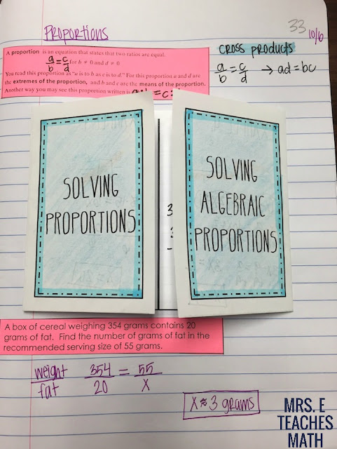 Algebraic Proportions Interactive Notebook Page for Algebra 1