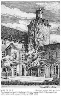 Tuschezeichnung des Athenée Royale Namur, Nachlass Joseph Stoll Bensheim, Stoll-Berberich 2016