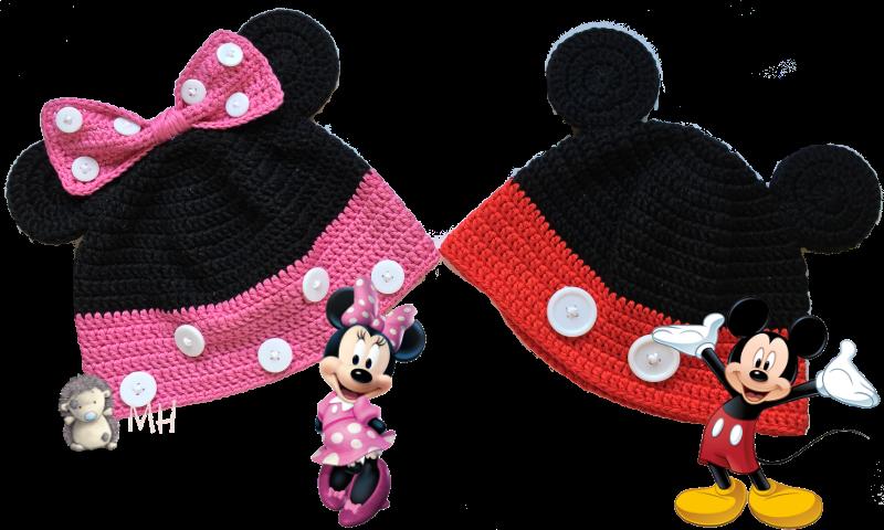 Gorros Minnie y mickey a crochet
