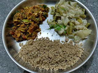Kodo millet beaten rice,  Ash gourd Cluster beans aviyal,  Bitter gourd masala