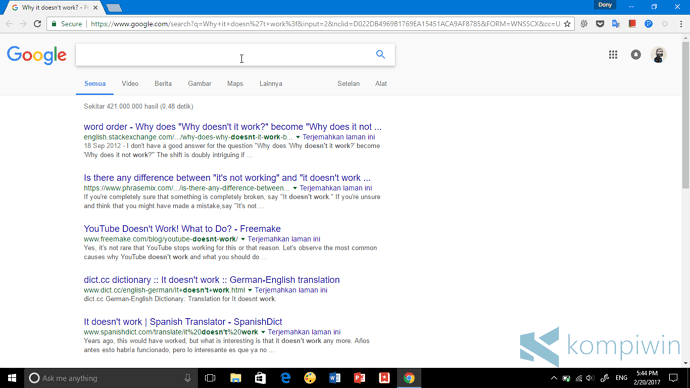 cara agar cortana buka chrome google