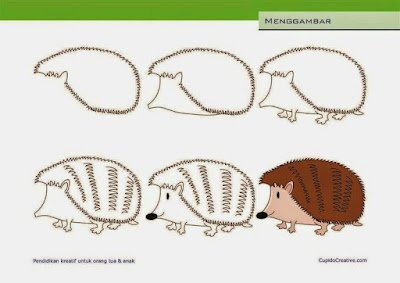 Cara menggambar hewan landak