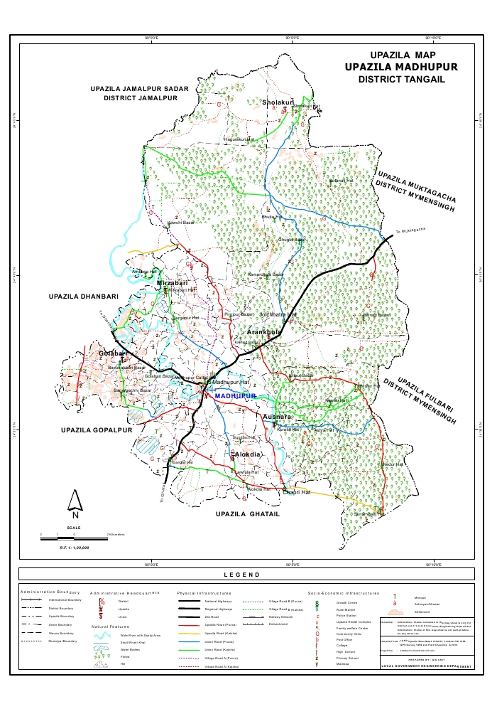 Madhupur Upazila Map Tangail District Bangladesh