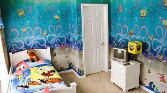 Desain Kamar Tidur Bertema Spongebob