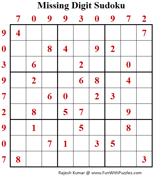 Missing Digit Sudoku (Daily Sudoku League #146)