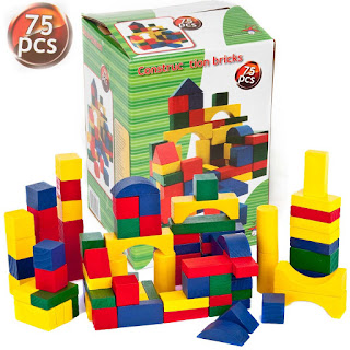 Special Deals 75 pcs Wooden Building Bricks Block Children's Toys £6.99 @ebay with  Educational benefits