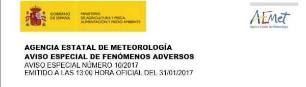 Aviso Especial fenómenos adversos España, febrero 2017