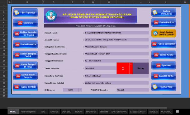 Aplikasi Pembuatan Administrasi Kegiatan Ujian Sekolah (US) dan Ujian Nasional (UN) Format Microsoft Excel