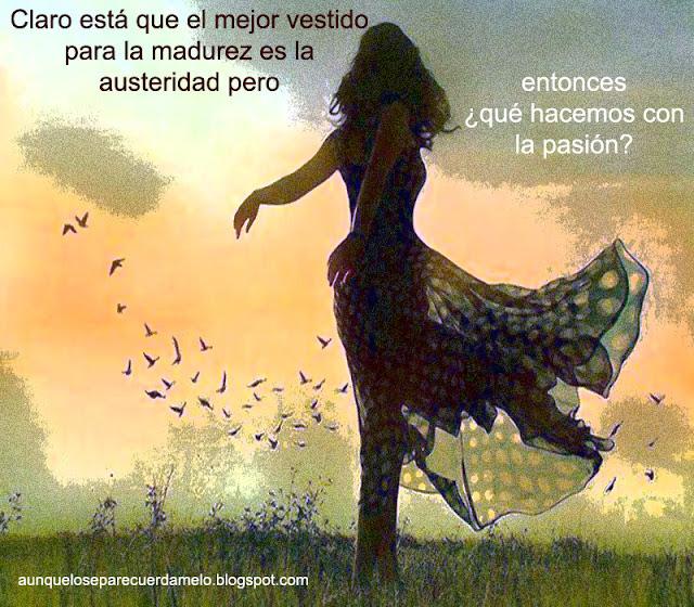 ilustracion mujer con estido al viento en un campo con pajaros con una cita acerca de la madurez