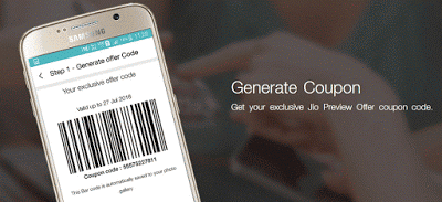 To claim your Free Reliance Jio Preview offer, you need to generate barcode coupon like this image from your smartphone device