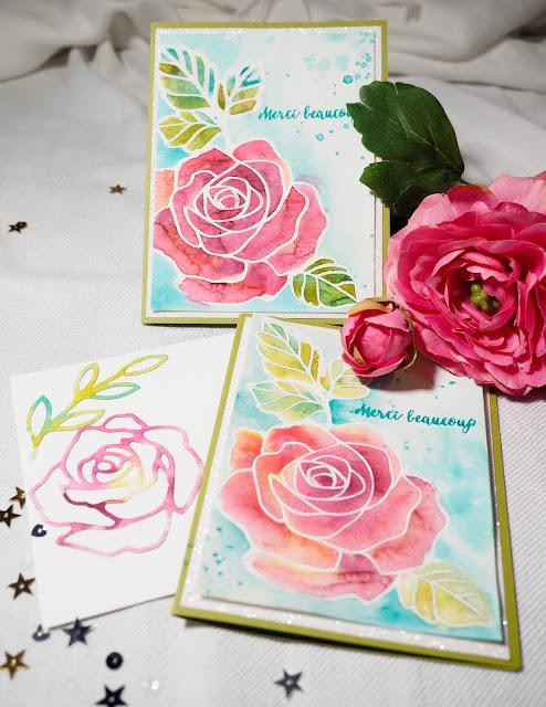 Deux cartes avec jeu Essence de rose Stampin' Up!