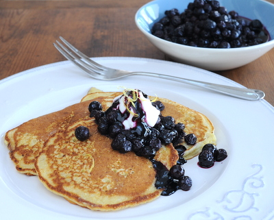 Cornmeal Pancakes with Blueberry Compote ♥ KitchenParade.com, my simple recipe for cornmeal pancakes with a simple blueberry compote. Another good reason to Make Tonight Pancake Night!