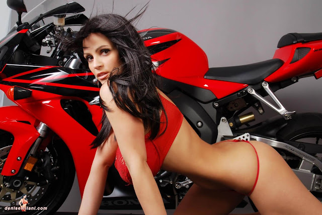 Denise-Milani-Bike-Photoshoot-in-red-hot-bikini-picture-18
