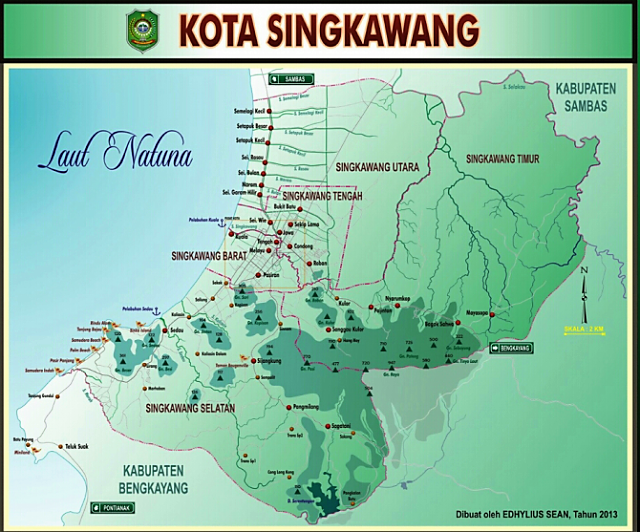 Gambar Tata Letak atau Peta Kota Singkawang
