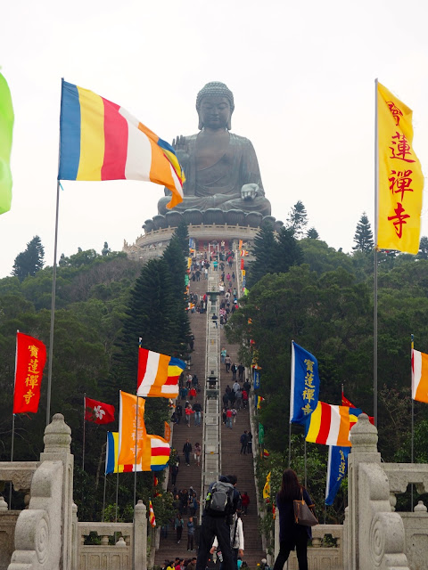 View of Big Buddha / Tian Tan Buddha from the circle podium in Ngong Ping Piazza, Lantau Island, Hong Kong