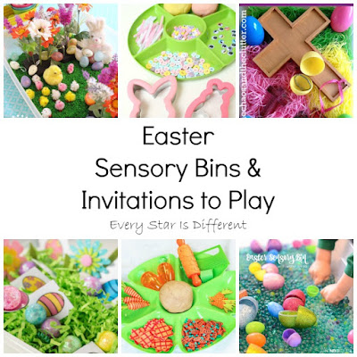 Easter sensory bins and invitations to play